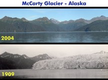 Comparison photos of the McCarty Glacier in Alaska. Image: 1909 by Ulysses Sherman Grant and 2004 by Bruce F. Molnia.