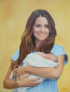 A Magyar oil painting of Kate Middleton holding Prince George. Image: Zontal