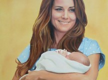 Portrait of Kate Middleton and her new baby.