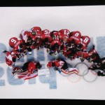 Arial view of the Canadian Olympic women's hockey team.