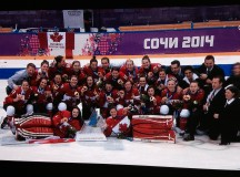 The Canadian women's hockey team with their Olympic gold medals.