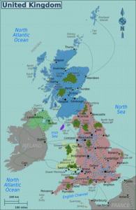 Map of the United Kingdom. England is red and Scotland is blue. Image: Burmesedays