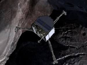 Illustration of Philae approaching a comet. Image: Wikipedia