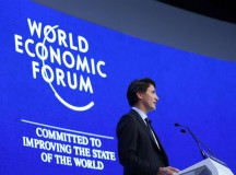 Justin Trudeau adresses the media at the World Economic Forum in Davos, Switzerland. Image: Justin Trudeau (Facebook)