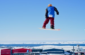 A snowboarder soars at the 2016 Arctic Winter Games. Photo courtesy of AWG2016.