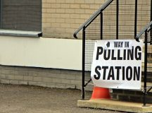 The entrance to a polling station in England on the morning of the UK's referendum in June 2016. Image: LavaBaron