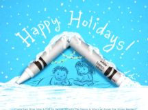 Photo of a broken crayon, illustrated with a holiday scene and Happy Holidays; by illustrator Debbie Ridpath Ohi.