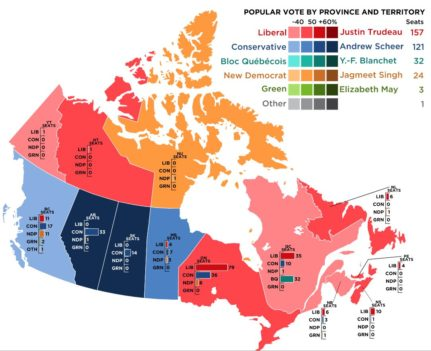 A map of the 2019 Canadian federal election
