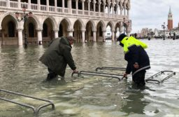 Venice mayor Luigi Brugnaro surveys the flood