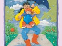 "Plasticine image of a mom and her baby under a beautiful blue umbrella, walking through a puddle in a rain shower. They are both smiling and happy. From ""Read me a Book"" by Barbara Reid, published by Scholastic Canada Ltd., photograph by Ian Crysler."