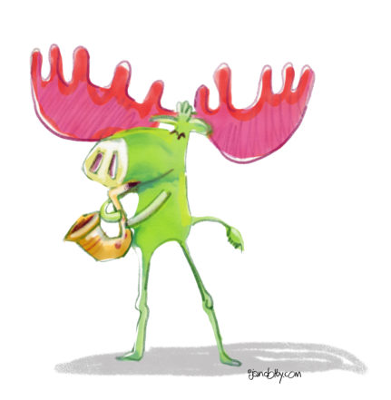 Illustration of a moose playing the saxophone, by Jan Dolby.