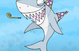 Party Shark, wearing two party hats and blowing a party-blower-thingy.